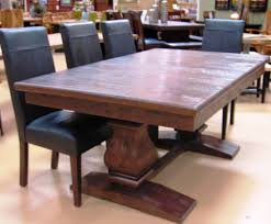 Dining Room Large Antique Expandable Table With Black Leather Chairs