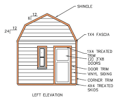 12x16 Gambrel Storage Shed Plans Free by 12 16 Gambrel Shed Plans U0026 Blueprints For Barn Style Shed