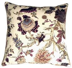 Highland Floral Cream and Purple 20X20 Throw Pillow from Pillow Decor