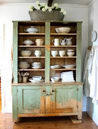 Kitchen Design Rustic Swivel Antique Hutch Featuring Mint Painted Reclaimed Wood And Upper Graded