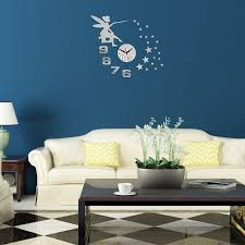 3D Angel Digital Clock Wall Stickers Decorate Mirror Decals Living Room Decor Removable