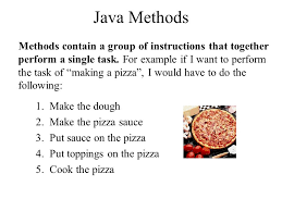 Java Methods Contain A Group Of Instructions That Together Perform Single Task