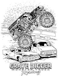 How To Draw Montstertrucks | Coloring Pages Monster Trucks Grave ...