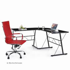 Tempered Glass Computer Desk by Ikayaa L Shaped Corner Computer Desk Pc Laptop Table Office