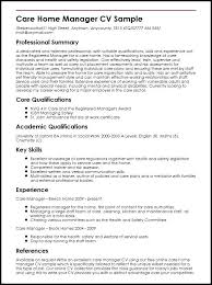 Curriculum Vitae Samples Pdf For Teachers Care Home Manager Sample Template