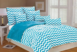 Lovely Chevron Bedding Set with Queen Turquoise White forter