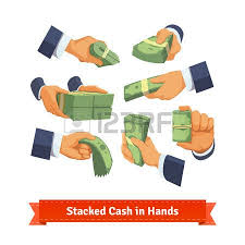 Hand poses giving taking or showing green cash stacks with ribbon and rubber bands