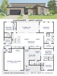 Modern Houseplans Courtyard23 Semi Custom Home Plan