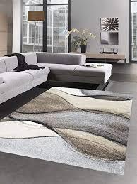 carpetia designer teppich moderner teppich wohnzimmerteppich kurzflor braun grau beige größe 80x150 cm