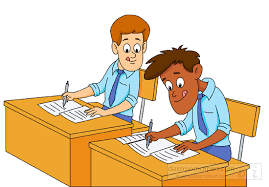 School Clipart two students sitting at desk taking an exam