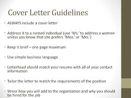 4 Cover Letter Guidelines ALWAYS Include