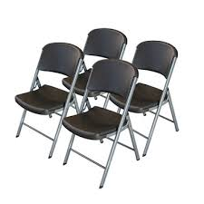lifetime classic black commercial folding chair silver frame 4