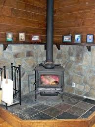 Wood Stove Stone Surrounding And Mantle Farmhouse More