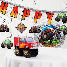 100 Monster Truck Decorations Birthday PaperPlastic Disposable Kit