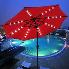 Solar Lighted Rectangular Patio Umbrella by Amazon Com 9 U0027 Outdoor Patio Aluminium Umbrella 32 Solar Powered
