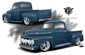 A 1952 Ford F-1 & Pro Touring Chevy Truck - Radical Renderings
