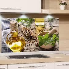 spritzschutz glas küche gewürze mediterran küchenrückwand