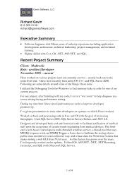Executive Summary Resume Samples Example Template Examples Of Templates Declaration Re Full Size