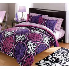 Walmart Bed Sheets by Your Zone Dotted Damask Bedding Comforter Set Purple Walmart Com