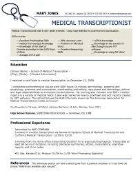 Medical Transcription Resume Examples Audio Template Kor2m Net