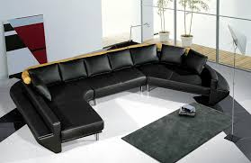 Black Leather Sofa Decorating Ideas by Tosh Furniture Ultra Modern Black Leather Sectional Sofa Set