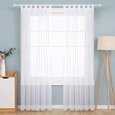 deconovo transparent gardinen wohnzimmer voile vorhang schlaufenschal 245x140 cm weiß 2er set stoff 245x140