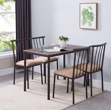 Ira 5 Piece Dining Set, Black Metal Frame, Brown Wood Top, Microfiber Seat,  Transitional (Rectangular Table & 4 Chairs) Coast To Woodbridge 5pc Ding Room Set With Metal Frame Chairs Astonishing Slate Legs Rooms Ira 5 Piece Black Brown Wood Top Microfiber Seat Transitional Rectangular Table 4 Vintage Genuine Leather Padded Cooper Ii Industrial Counter Height Sage Green Suede Cushion Meridian 779greyc Giselle Series Contemporary Velvet Chair Of 2 Silver Dinette 732greyc Juno China Replica Design Gold Cafe Sets Fniture And Diy Agreeable Trent Used Unopened Black Metal Framed Ding Room Chairs For