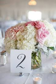 The Reception Centerpieces Featured Lush Arrangements Of White Hydrangeas And Pink Roses Venue Newport