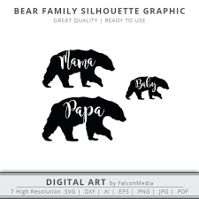 Bear Face Outline Tattoo Kids Coloring Mama Papa Baby Silhouette Graphic