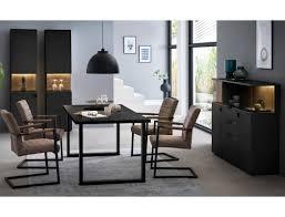 esszimmer mutina 22 schwarzgrau 4 teilig 2x vitrine highboard esstisch