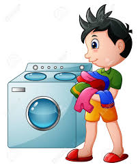 Boy Doing Laundry With Washing Machine Stock Picture And