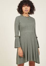trumpet sleeve ease knit a line dress modcloth