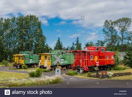 Old railway cabooses Red Caboose Bed and Breakfast Sequim Stock