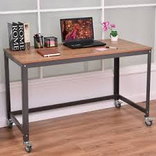 Rolling puter Desk Metal Frame PC Laptop Table Wood Top Study