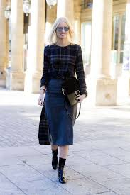 Cold Weather Winter Interview Outfit Pencil Skirt Plaid Top