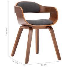vidaxl esszimmerstühle 2 stk dunkelgrau stoff und bugholz
