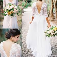 2016 Spring Boho Sheath Wedding Dress With Sheer Long Sleeves V Neck