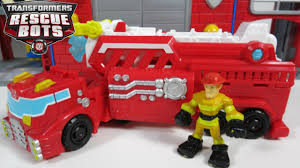 100 Rescue Bots Fire Truck NEW 2016 TRANSFORMERS RESCUE BOTS HEATWAVE HOOK LADDER FIRETRUCK TRAILER WATER CANNON