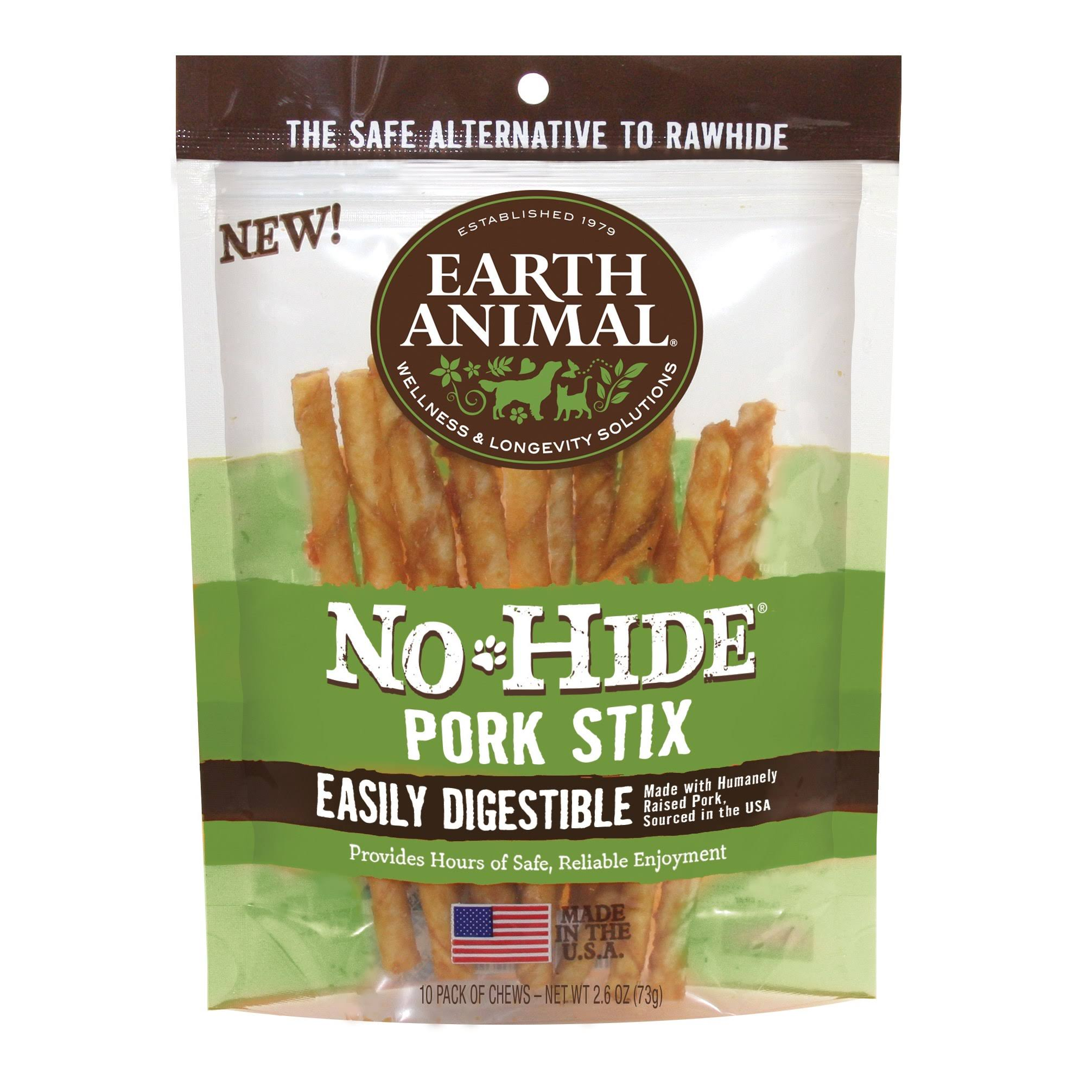 Earth Animal No-Hide Pork Stix, 10/Pack
