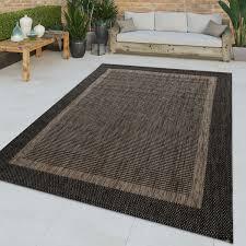 flachgewebter in outdoor teppich bordüre anthrazit