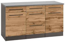 held möbel unterschrank tulsa 150 cm breit 2 türen 3 schubkästen 2 große auszüge für viel stauraum auch als sideboard verwendbar schwarzer