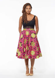 neema african print mid length circle skirt pink yellow