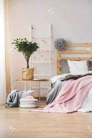 gemütliches schlafzimmer mit pflanzen und glühbirnen dekoriert