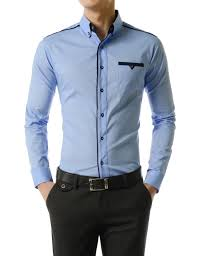 thelees mens slim fit button down long sleeve casual stretchy
