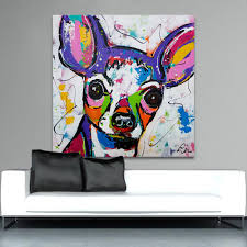 100 Pop Art Home Decor Multi Colored Chihuahua Painting Nerdlerd