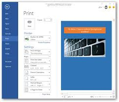 Print Preview Word 2013