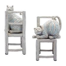 Resin Cat On Chair Bookends In Pair, Neutral Colors