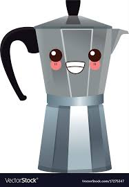 Coffee Maker Steel Kawaii Cartoon Vector Image