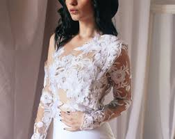 Lace Bridal Top Tulle Long Sleeve Sheer Wedding