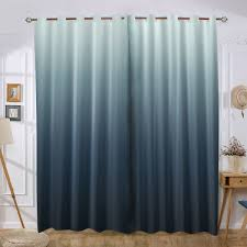 Steel Blue Ombre Gradient Grey Window Curtain Quality Elegant Drapes